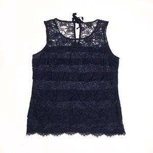 Navy Blue Ann Taylor Lace Blouse Size M